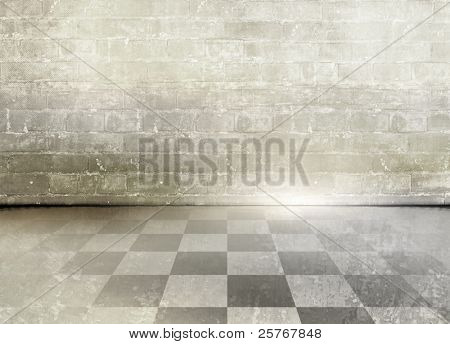 Grunge brick wall background with grey beige checkered floor - abstract grungy room design