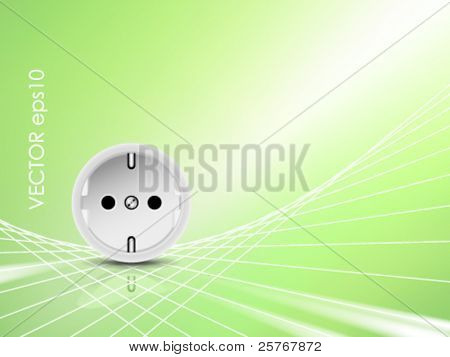 White socket, outlet against abstract green shiny background - green energy concept, eco design - symbolic of eco friendly power - vector illustration