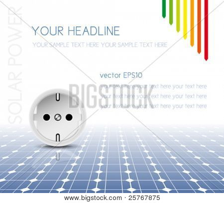 Solar panel with socket, outlet - photovoltaic technology - abstract electricity background - green power concept with energy efficiency scale - eco design - vector, eps10