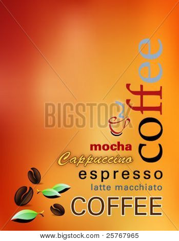 Coffee background - modern cover of a coffee shop menu with coffee beans, abstract sun, leaves and words - vector illustration