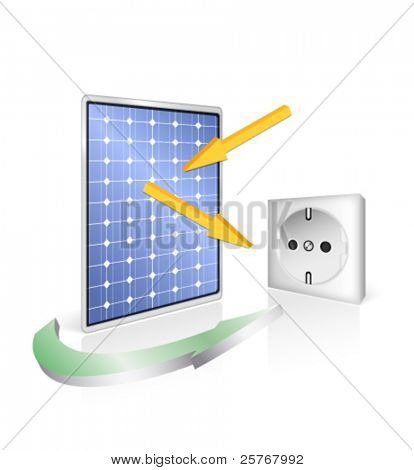Solar panel with socket - photovoltaic technology - green power and energy concept - vector eco design