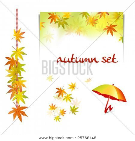 Autumn set background elements - collection of fall leaves with umbrella and notepad