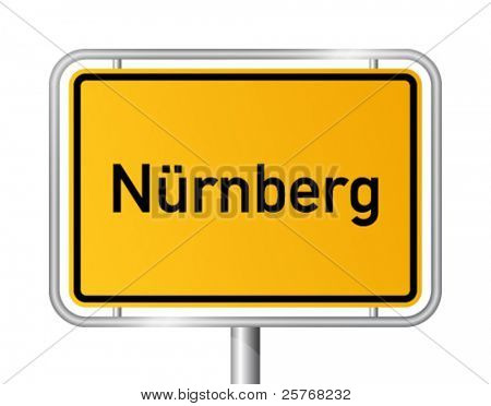 City limit sign NUREMBERG / NÜRNBERG against white background - federal state of Bavaria - vector illustration