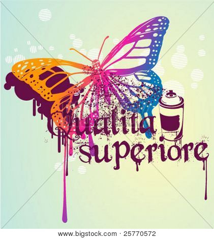 graffiti butterfly vector graphic