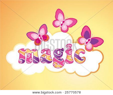 Magic butterflies with gems graphic