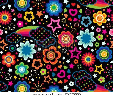 Cute floral rainbows seamless background