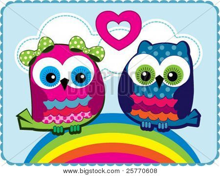 Cute Owls in love vector graphic