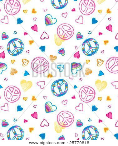 Love and Peace seamless wallpaper
