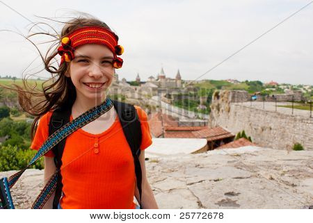 Ukrainian Teen Girl Satying Outdoors