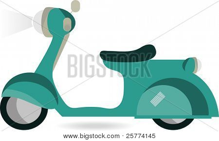 Vector retro Blue scooter isolated against white background.