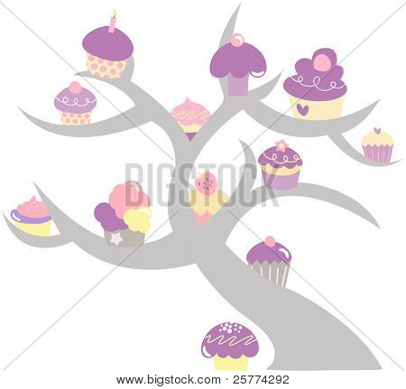 Cupcake tree illustrated in pastel colors.
