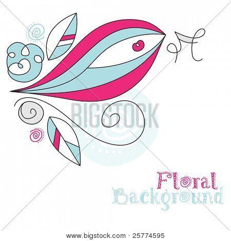 Retro floral Ecke mit Vogel, Vektor. (Pinselstriche erweitert)