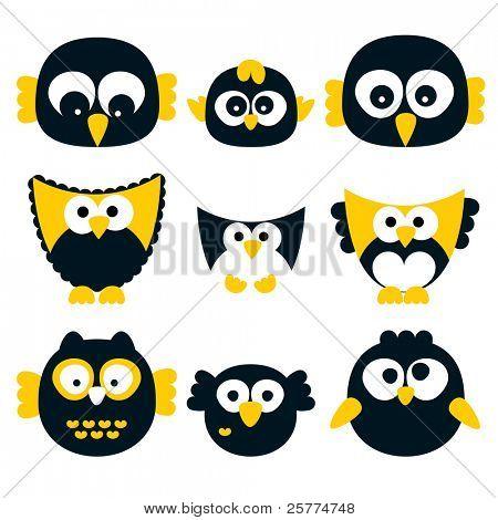 Owl set, vector.