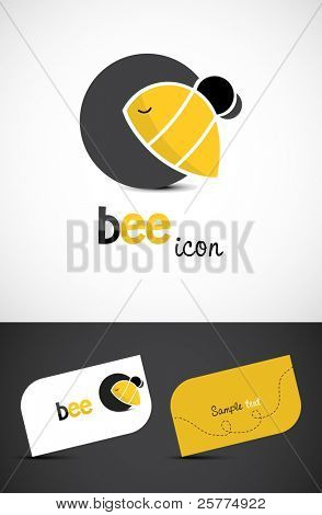 Stylized bee icon and business cards, EPS10 vector.