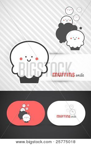 Cute Muffin Icon, Vector EPS10.
