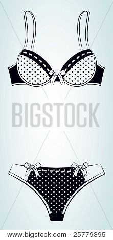 The collection of vintage lingerie in decorative background vector