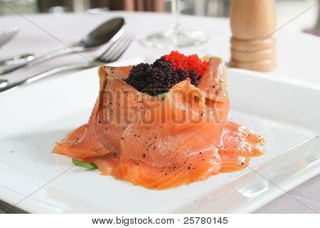 Salmon Salad With Rocket And Caviar