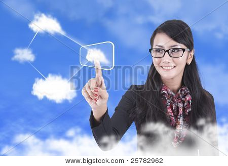 Beautiful Woman With Cloud Computing Concept