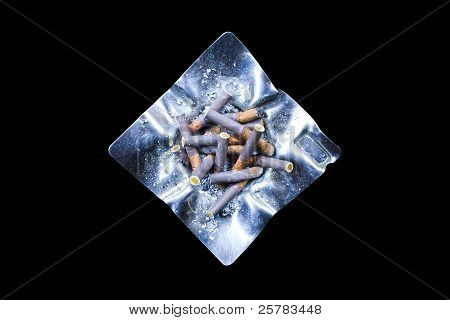 Decorated Silver Ashtray With Cigarette Butts