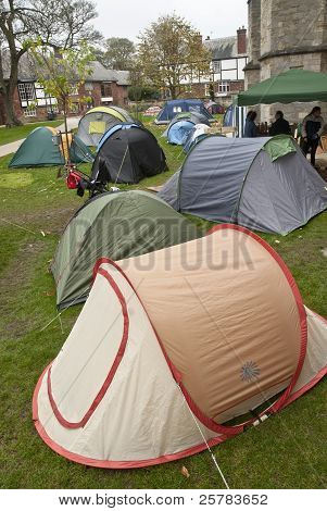 The tents stretched out over the Occupy Exeter Camp