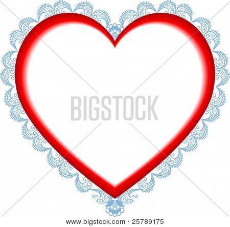 Vector Illustration of a Heart with Lace Burst