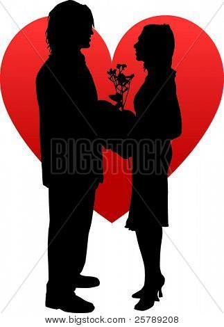 Vector Silhouette of 2 people in Love