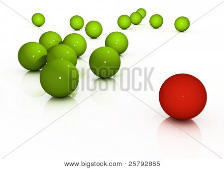 A bunch of green spheres separated from a red sphere