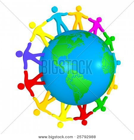 multi-ethnic people around the globe, a symbol of trust