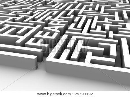 """Ein Labyrinth mit einer Mauer, die sagt """"Angst"""""""