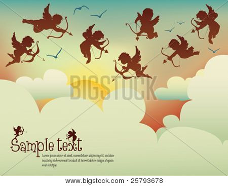 cupids flying in the sunset