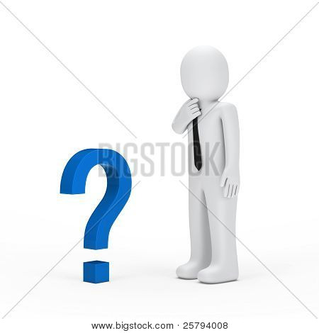 Businessman Small Blue Question Mark