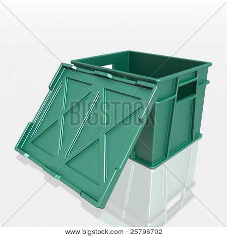 open plastic container with a lid