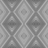Seamless geometric rhombuses pattern. Vector op art. No gradient.