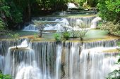 Scenic View Of Waterfall In The Forest (chatkaew),huai Mae Khamin Waterfall,kanchanaburi,thailand. poster