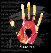 Постер, плакат: Печать от брызг цвета и линии кистей рук