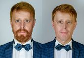 Collage Of Handsome Man On Shaven Or Unshaven. Set Of Portrait Redhead Man On Young Vs Old. Man With poster