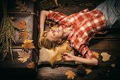 Beauty Face. Fashion Girls. Autumn Leaves. Autumn Leaves Isolated. Autumn Leaves Background. Autumn  poster