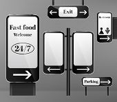 Vector Set Of Street Signposts On Metal Poles, Direction Signs With Arrows Isolated On Background. C poster