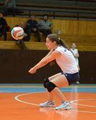 KAPOSVAR, HUNGARY - OCTOBER 16: Julia Schrauff in action at the Hungarian NB I. League woman volleyb