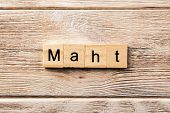 Math Word Written On Wood Block. Math Text On Table, Concept. poster