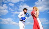 Be Ready Defend Your Point View. Man And Woman Fight Boxing Gloves Blue Sky Background. Defend Your  poster
