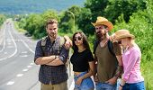 Begin Great Adventure In Your Life With Hitchhiking. Friends Hitchhikers Looking For Transportation  poster