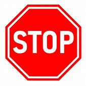 Red Stop Sign On White Background. Flat Style. Red Stop Sign For Your Web Site Design, Logo, App, Ui poster