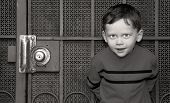 picture of screen-porch  - Cute boy standing up against very old screen door - JPG