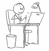 Cartoon Stick Drawing Conceptual Illustration Of Smiling Man Or Businessman Working Or Typing In Off poster