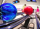 foto of bowling ball  - Bowling balls on return at alley - JPG