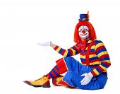 picture of circus clown  - Circus clown wearing large shoes isolated on white - JPG