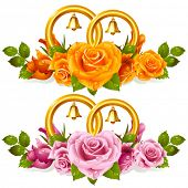 picture of yellow rose  - Wedding rings and bunch of roses - JPG