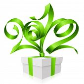 New Year and Christmas background with vector green ribbon in the shape of 2012 and gift box