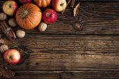 Autumn Apples, Pumpkin And Cinnamon Sticks poster